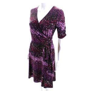 Donna Degnan purple printed tie dress S